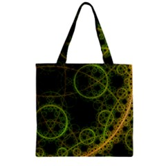 Abstract Circles Yellow Black Zipper Grocery Tote Bag