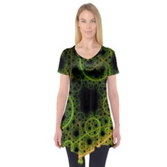 Abstract Circles Yellow Black Short Sleeve Tunic