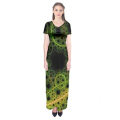 Abstract Circles Yellow Black Short Sleeve Maxi Dress