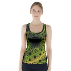 Abstract Circles Yellow Black Racer Back Sports Top