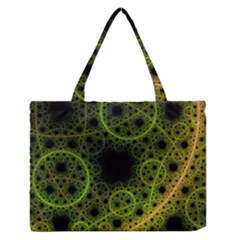 Abstract Circles Yellow Black Medium Zipper Tote Bag