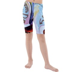 Abstract Currency Background Kids  Mid Length Swim Shorts