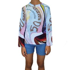 Abstract Currency Background Kids  Long Sleeve Swimwear