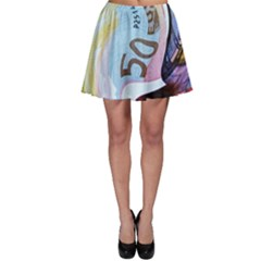 Abstract Currency Background Skater Skirt