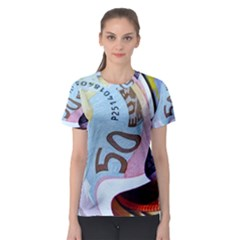 Abstract Currency Background Women s Sport Mesh Tee
