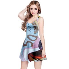 Abstract Currency Background Reversible Sleeveless Dress
