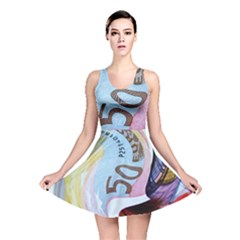 Abstract Currency Background Reversible Skater Dress