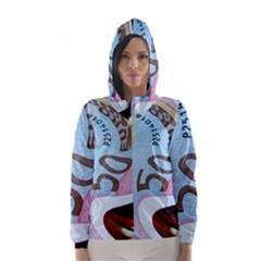 Abstract Currency Background Hooded Wind Breaker (women)