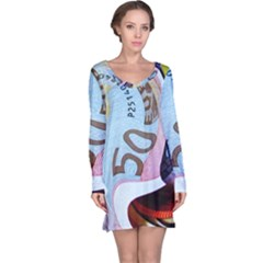 Abstract Currency Background Long Sleeve Nightdress