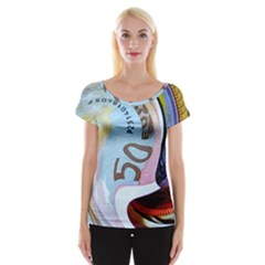 Abstract Currency Background Women s Cap Sleeve Top
