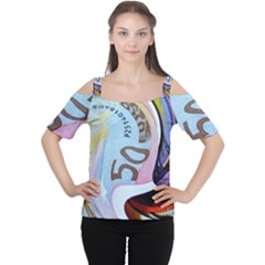 Abstract Currency Background Women s Cutout Shoulder Tee