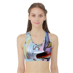 Abstract Currency Background Sports Bra With Border