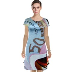 Abstract Currency Background Cap Sleeve Nightdress