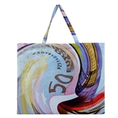 Abstract Currency Background Zipper Large Tote Bag