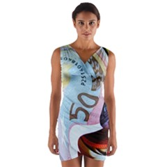Abstract Currency Background Wrap Front Bodycon Dress