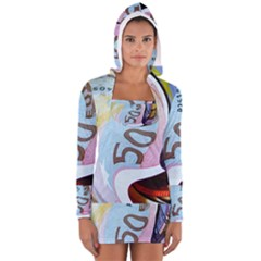 Abstract Currency Background Women s Long Sleeve Hooded T Shirt