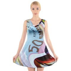 Abstract Currency Background V Neck Sleeveless Skater Dress