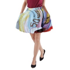 Abstract Currency Background A Line Pocket Skirt