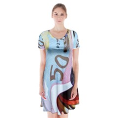 Abstract Currency Background Short Sleeve V-neck Flare Dress