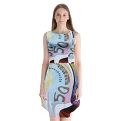 Abstract Currency Background Sleeveless Chiffon Dress