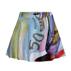 Abstract Currency Background Mini Flare Skirt