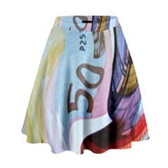 Abstract Currency Background High Waist Skirt