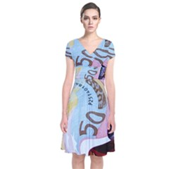 Abstract Currency Background Short Sleeve Front Wrap Dress