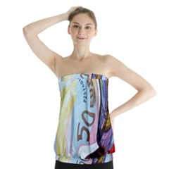 Abstract Currency Background Strapless Top