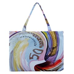 Abstract Currency Background Medium Zipper Tote Bag