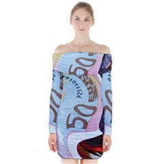 Abstract Currency Background Long Sleeve Off Shoulder Dress