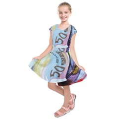 Abstract Currency Background Kids  Short Sleeve Dress