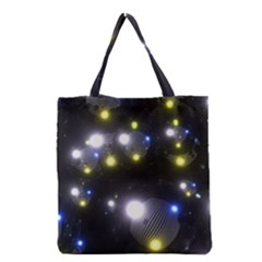 Abstract Dark Spheres Psy Trance Grocery Tote Bag