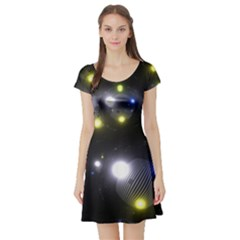 Abstract Dark Spheres Psy Trance Short Sleeve Skater Dress