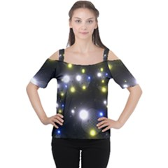 Abstract Dark Spheres Psy Trance Women s Cutout Shoulder Tee