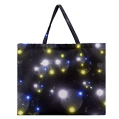 Abstract Dark Spheres Psy Trance Zipper Large Tote Bag