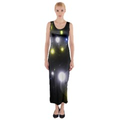 Abstract Dark Spheres Psy Trance Fitted Maxi Dress