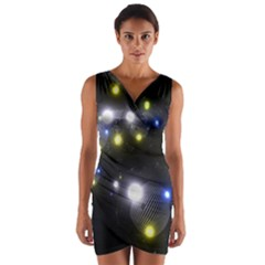 Abstract Dark Spheres Psy Trance Wrap Front Bodycon Dress