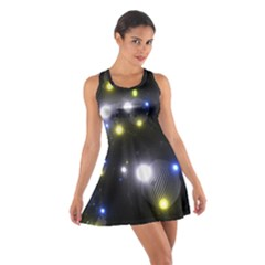 Abstract Dark Spheres Psy Trance Cotton Racerback Dress