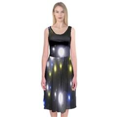 Abstract Dark Spheres Psy Trance Midi Sleeveless Dress
