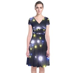 Abstract Dark Spheres Psy Trance Short Sleeve Front Wrap Dress