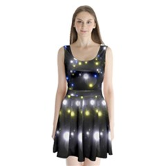 Abstract Dark Spheres Psy Trance Split Back Mini Dress