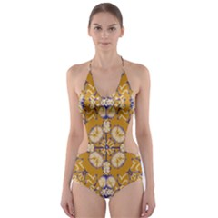 Abstract Elegant Background Card Cut-Out One Piece Swimsuit
