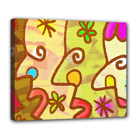 Abstract Faces Abstract Spiral Deluxe Canvas 24  X 20