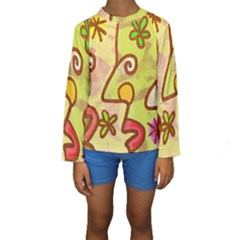 Abstract Faces Abstract Spiral Kids  Long Sleeve Swimwear