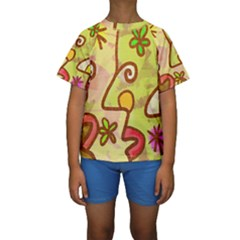 Abstract Faces Abstract Spiral Kids  Short Sleeve Swimwear