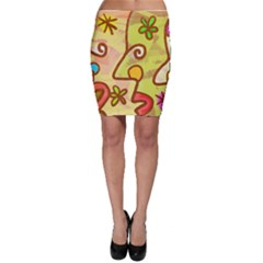 Abstract Faces Abstract Spiral Bodycon Skirt