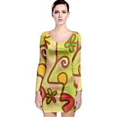 Abstract Faces Abstract Spiral Long Sleeve Bodycon Dress