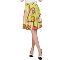 Abstract Faces Abstract Spiral A Line Skirt
