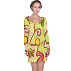 Abstract Faces Abstract Spiral Long Sleeve Nightdress