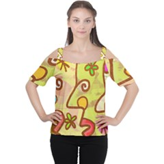 Abstract Faces Abstract Spiral Women s Cutout Shoulder Tee